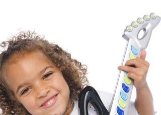 dziecko, dziewczynka, gitara, grać