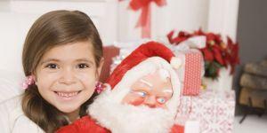 dziecko, dziewczynka, maskotka, mikołaj, święta, Boże Narodzenie