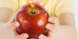 dziecko, dziewczynka, owoc, jabłko