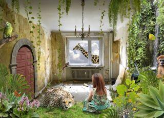 dziecko, dziewczynka, wyobraźnia, bajka, pokój dziecka, zwierzęta