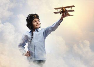 dziecko, fantazja, wyobrażnia, pilot, chmury