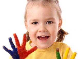 dziecko, farba, malować, ręce