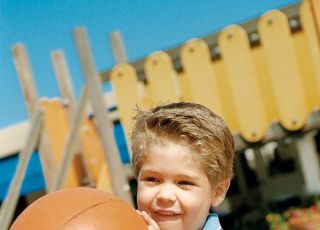 dziecko, gra, piłka, zabawa, ruch