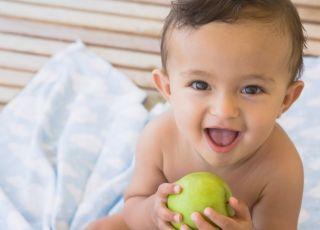 dziecko, jabłko, owoc, kuchnia, karmienie