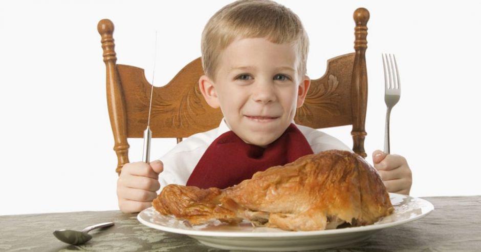 dziecko, jedzenie, kurczak, stół