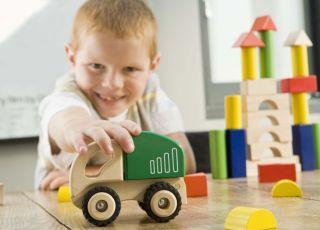 dziecko, klocki, samochód, zabawki