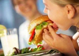 dziecko, kuchnia, hamburger, kanapka
