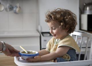 dziecko, kuchnia, miseczka, fotelik