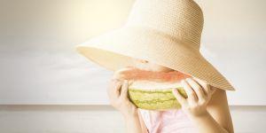 dziecko, lato, arbuz, jedzenie