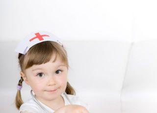 dziecko, lekarz, pluszka, badanie