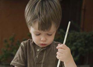 dziecko, malować, pędzelek