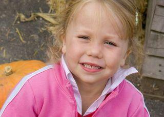 dziecko, maluch, dziewczynka, jesień, dynia