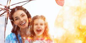 dziecko, mama, deszcz, parasol