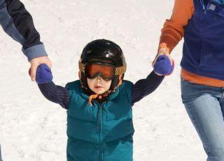 dziecko, narty, zima, śnieg, nauka, rodzice