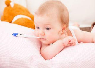 dziecko, niemowlak, termometr, choroba