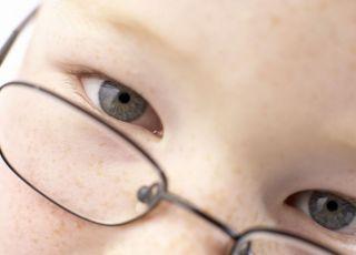 dziecko, oczy, okulary