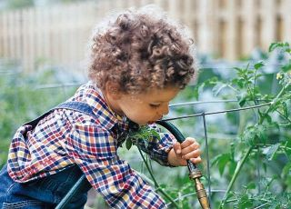 dziecko, ogród, podlewać