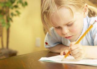 dziecko, pisać, dziewczynka