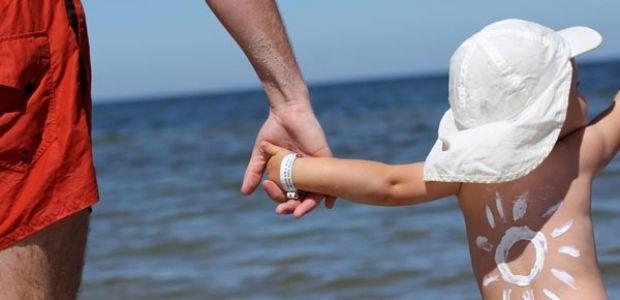dziecko, plaża, słońce