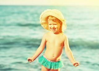 dziecko, plaża, kostium
