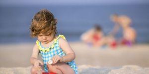 dziecko, plaża, morze, lato