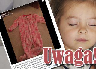dziecko prawie się udusiło piżamką