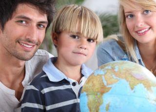 dziecko, rodzice, rodzina, globus