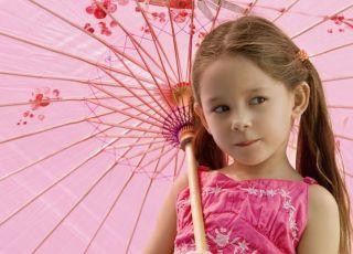 dziecko, różowy, parasolka