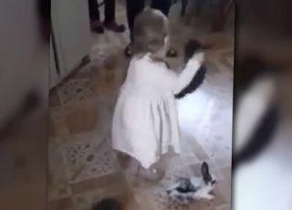 dziecko rzucające królikami