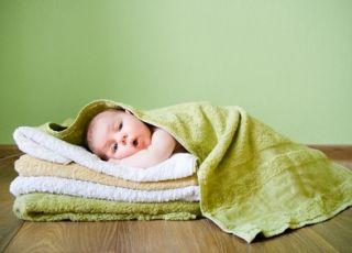 dziecko, sen, ręczniki, pranie
