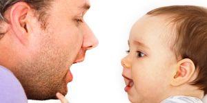 dziecko, tata, mowa, rozmowa, nauka mowy, usta