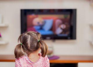 dziecko, telewizor, dziewczynka