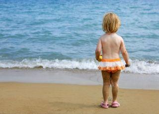 dziecko, wakacje, morze, plaża