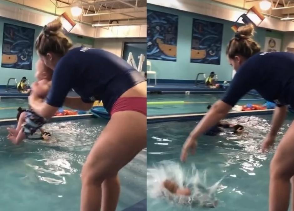dziecko wrzucone do wody, nauka pływania dla niemowląt