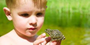 Dziecko z żabą