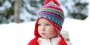 dziecko, zima, czapka, śnieg