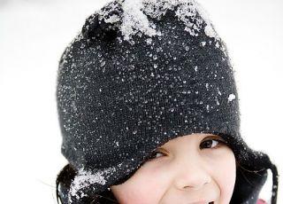 dziecko, zima, czapka, uśmiech, język