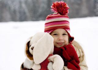 dziecko, zima, maskotka, śnieg