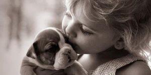 dziecko, zwierzak, miłość, pies
