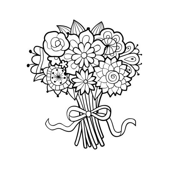 dzień kobiet kolorowanki bukiet kwiatów