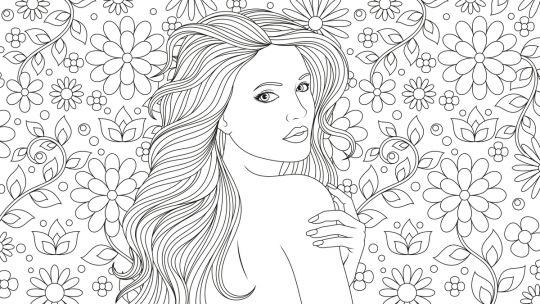 dzień kobiet kolorowanki kobieta wsród kwiatów