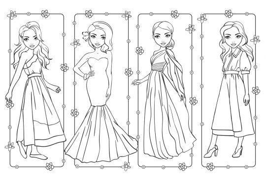 dzień kobiet kolorowanki dziewczyny w sukienkach