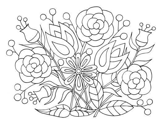dzień kobiet kolorowanki pęk kwiatów