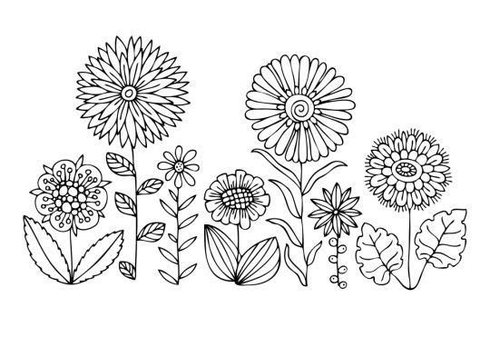 dzień kobiet kolorowanki rządek kwiatów