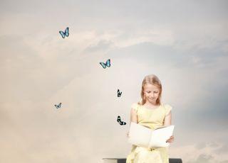 dziewczynka, fantazja, wyobraźnia, książki