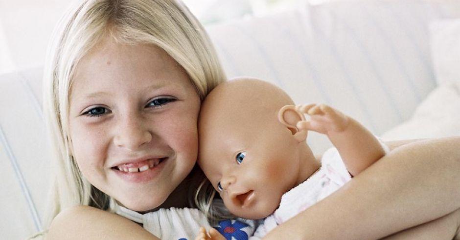 dziewczynka, lalka, dziecko, tulić, zabawka
