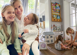 Edyta Pazura z córką Ritą bawią się kuchnią i domkiem dla lalek