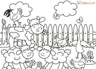 farma, kolorowanka dla dzieci, kolorowanka farma, zwierzęta