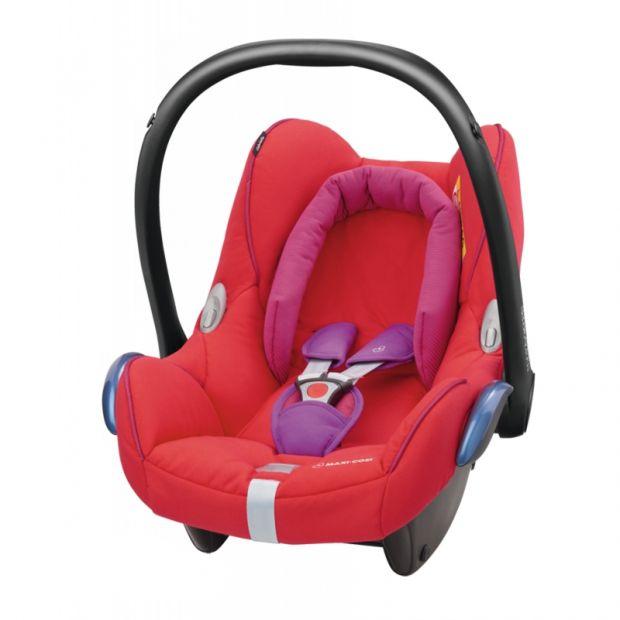 fotelik samochodowy maxi cosi cabrio fix czerwony z różowymi akcentami.jpg