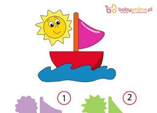 gra logiczna, gra dla dzieci, łódka, dopasowywanie kształtów